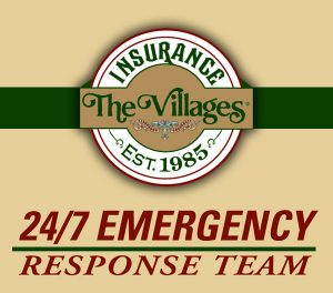 The villages Insurance logo, 24/7 emergency response team