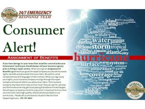 Consumer alert! Assignment of benefits for a hurricane.