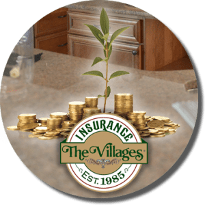 plant sprouting from a large pile of gold coins, the Villages Insurance logo