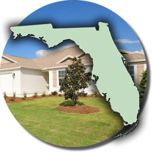 State of Florida outline in front of a single floor suburban home