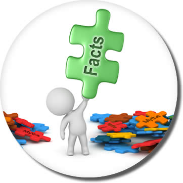 "3-d icon of person holding a puzzle piece that reads ""facts"""