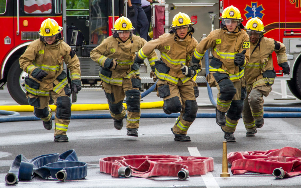Picture of Fire cadets competing in Firematics Challenge