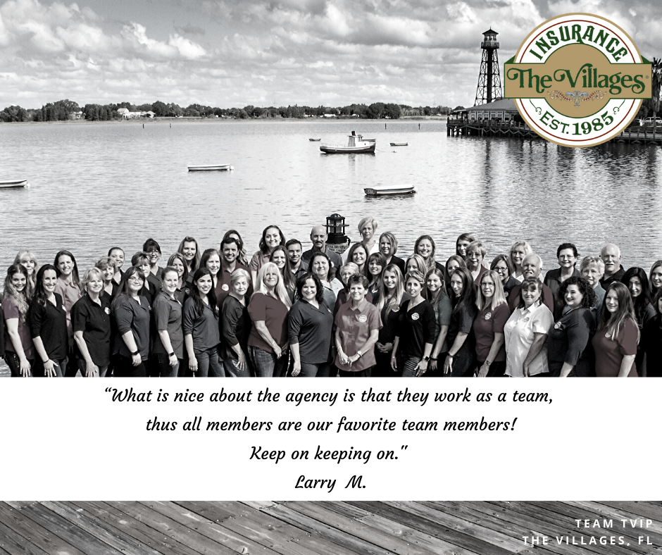 Group photo of The Villages Insurance Team standing in front of water.  Client testimonial written on photo.